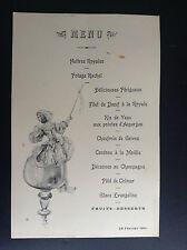 Ancien menu illustré 1901