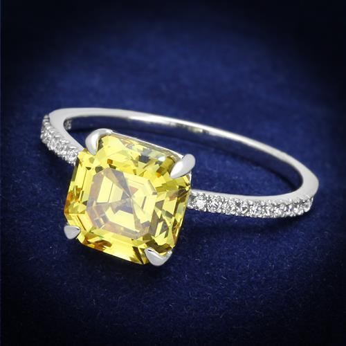 175 ASSCHER CUT STERLING  SILVER SIMULATED DIAMOND RING  PAVE CITRINE YELLOW