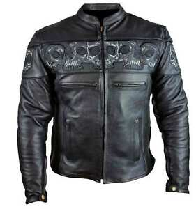 Men's LEATHER Vented Motorcycle Jacket w/ Reflective Skull ...