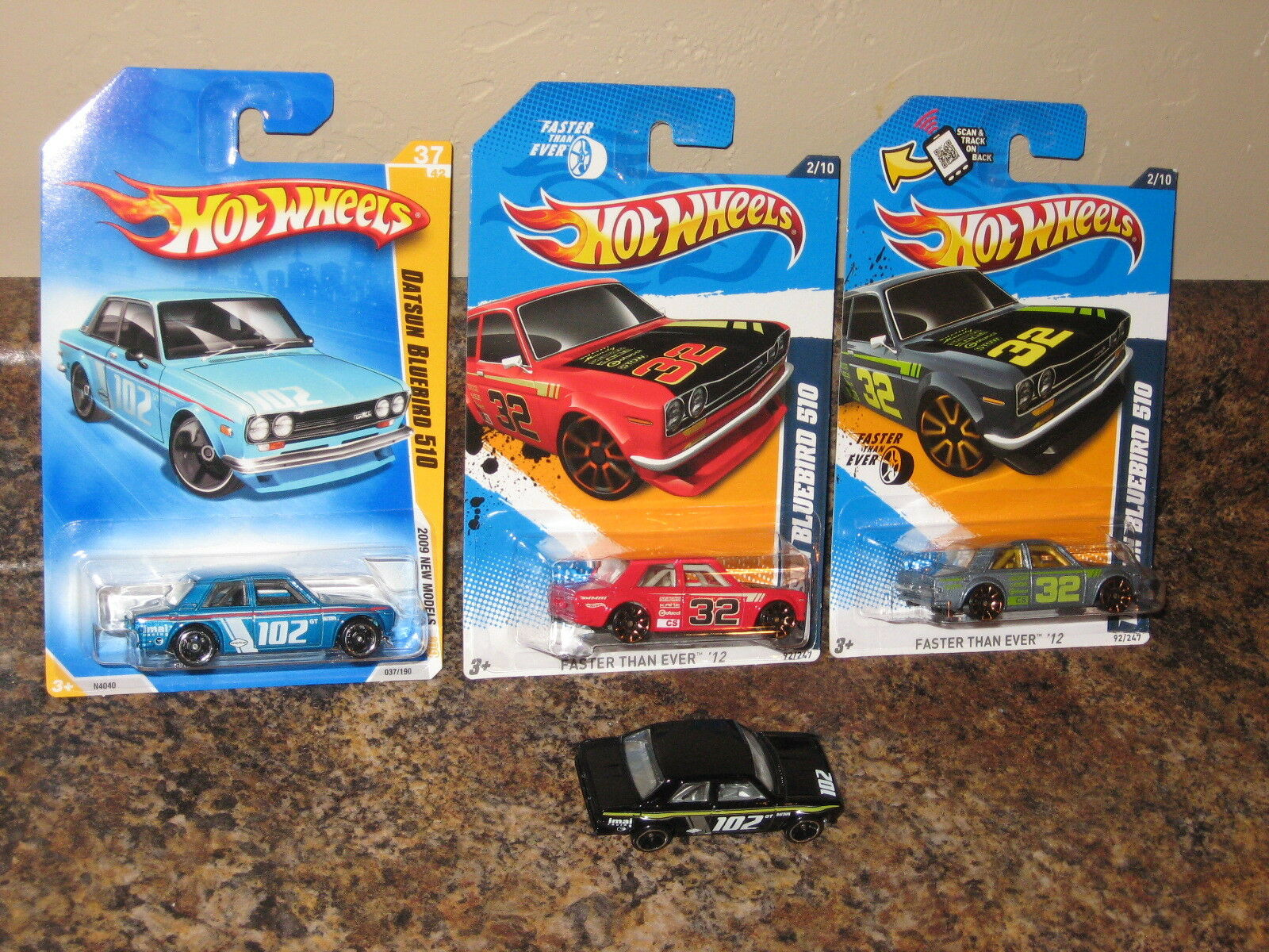Hot Wheels Lot of 4 1969 Datsun blueebird 510 Variation New Model bluee Black 1600