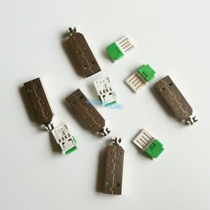 5X-USB-4-Pin-Type-A-Male-2-Piece-NO-Solder-Press-Connector-Plug-Metal-Cover-Long