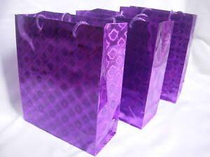 wholesale online huge discount dirt cheap Details about 12 Purple Metallic Paper Carrier Gift Bags 34cmx26x8cm