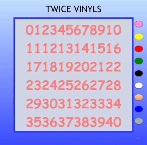 SELF ADHESIVE NUMBERS stickers graphics COMIC SAN 30 OR 40mm 1-40 vinyl set