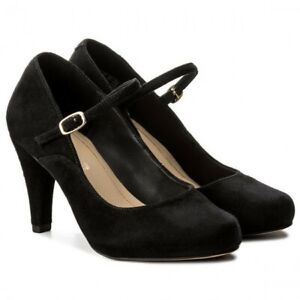 Details about Clarks Ladies Dalia Lily Black Suede Mary Jane Smart Shoes Size UK 639.5