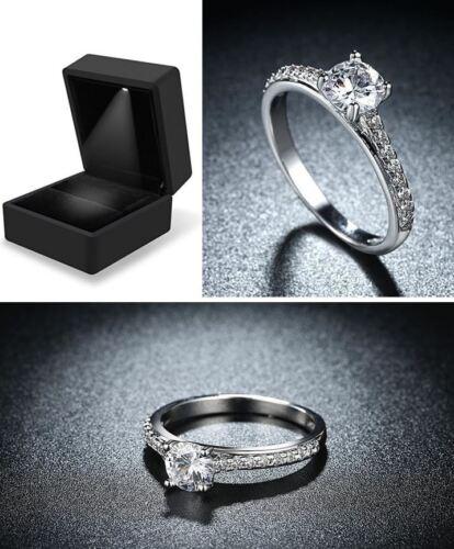 FREE Illuminated Case #C 18ct White Gold Plated Cubic Zirconia Engagement Ring