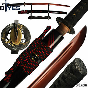 Fully-Handforged-Red-1095-High-Carbon-Steel-Blade-Japanese-Samurai-Katana-Sword