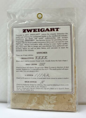 "Zweigart Country Damask 11 Count 100/% Cotton Cross Stitch Fabric 11/"" x 11/"""