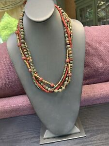 """Vintage Bohemian Gold Green Red Wood Beaded Multi 4 Strand Necklace  22"""""""