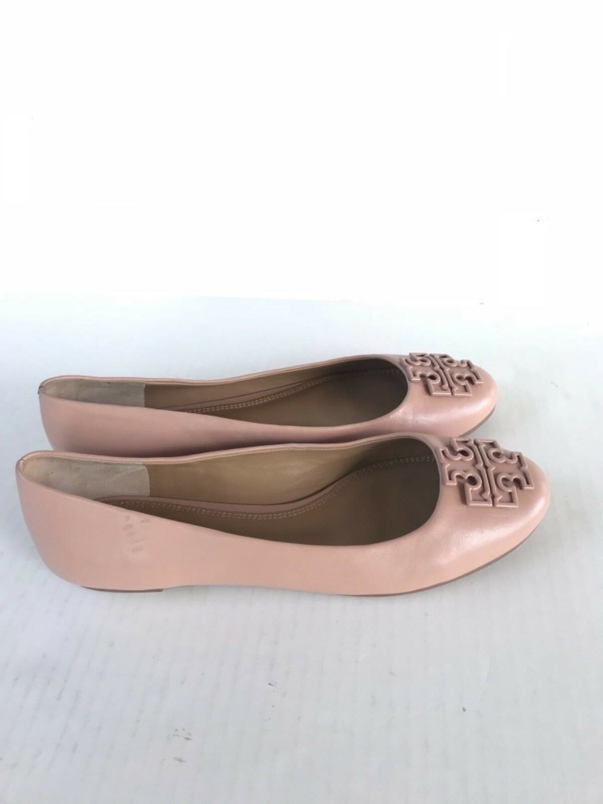 NEW TORY BURCH Melinda Flats Leather Flats Melinda Shoes Ballerina Light Beige Size 9 $258 53c778