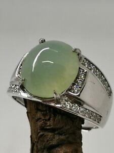 Icy Ice Light Green Burmese Jadeite Jade Ring/冰种淡绿天然缅甸翡翠戒指/ナチュラルビルマ翡翠リング