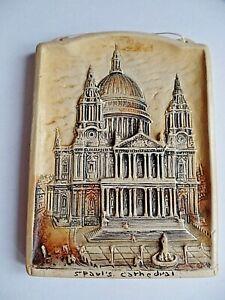 Vintage-Osborne-Ivorex-Wall-Plaque-St-Pauls-Cathedral-London-1916