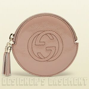 55cb19042d34f2 GUCCI nude Patent Leather SOHO Interlocking G zip pouch COIN Purse ...