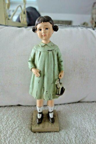 Shabby Kleines Mädchen Mit Schaukelpferd Deko Figur 23x8x6cm Retro Antiklook NEU