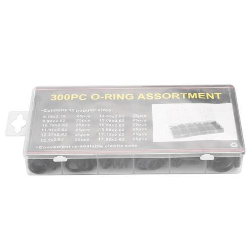 300PCS Universal Rubber O-Ring Seal Gasket 12 Sizes Black O-ring Assortment Set