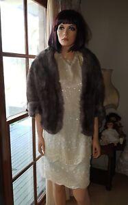 Vintage-Charcoal-Mink-Dyed-Marmot-Fur-Stole-Bolero-Shrug-Jacket-Cape-Coat-Shawl