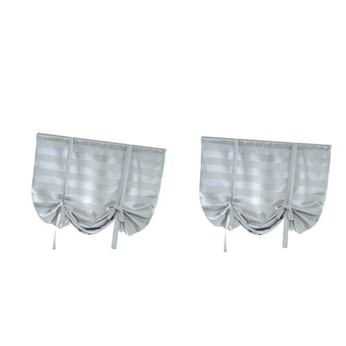 2Piece Lovely Blackout Roman Curtain Shade Tie Up Small Window Voile Drape Sheer