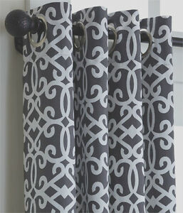 Split P Madison Geo Charcoal Grey Fretwork Lined Grommet