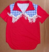 Country Western Dance Costume Fringed Shirt Red Blue/white Gingham Boys Med