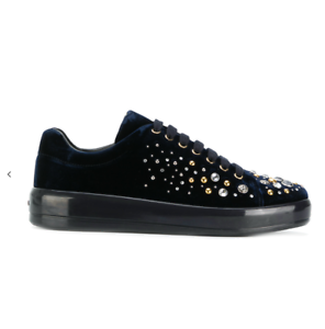Man/Woman Prada embellished sneakers velvet  New product Cheaper than the price Clearance sale