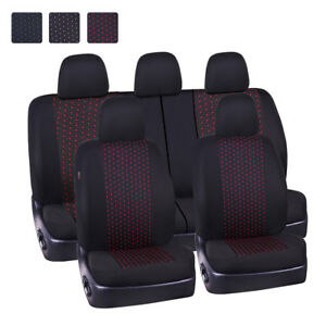 Universal-Car-Seat-Covers-Black-Red-Dot-Jacquard-Airbags-Accessories-Breathable