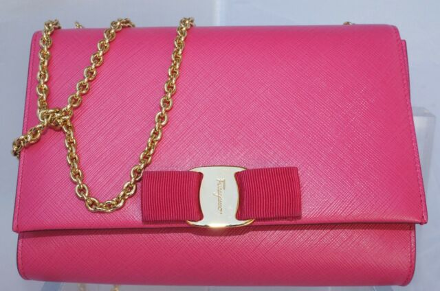 b85aeb937ec0 New Salvatore Ferragamo Miss Vara Bag Saffiano Clutch Crossbody Sale Gift