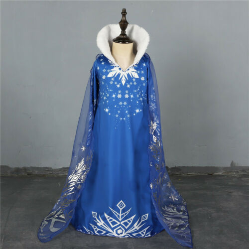 Frozen 2 Kids Elsa Queen Costume Blue Snow Dress Cosplay Outfit Fancy Dress Suit