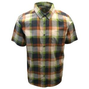 prAna Men's Charcoal Green Orange Box Plaid Benton S/S Woven Shirt S05