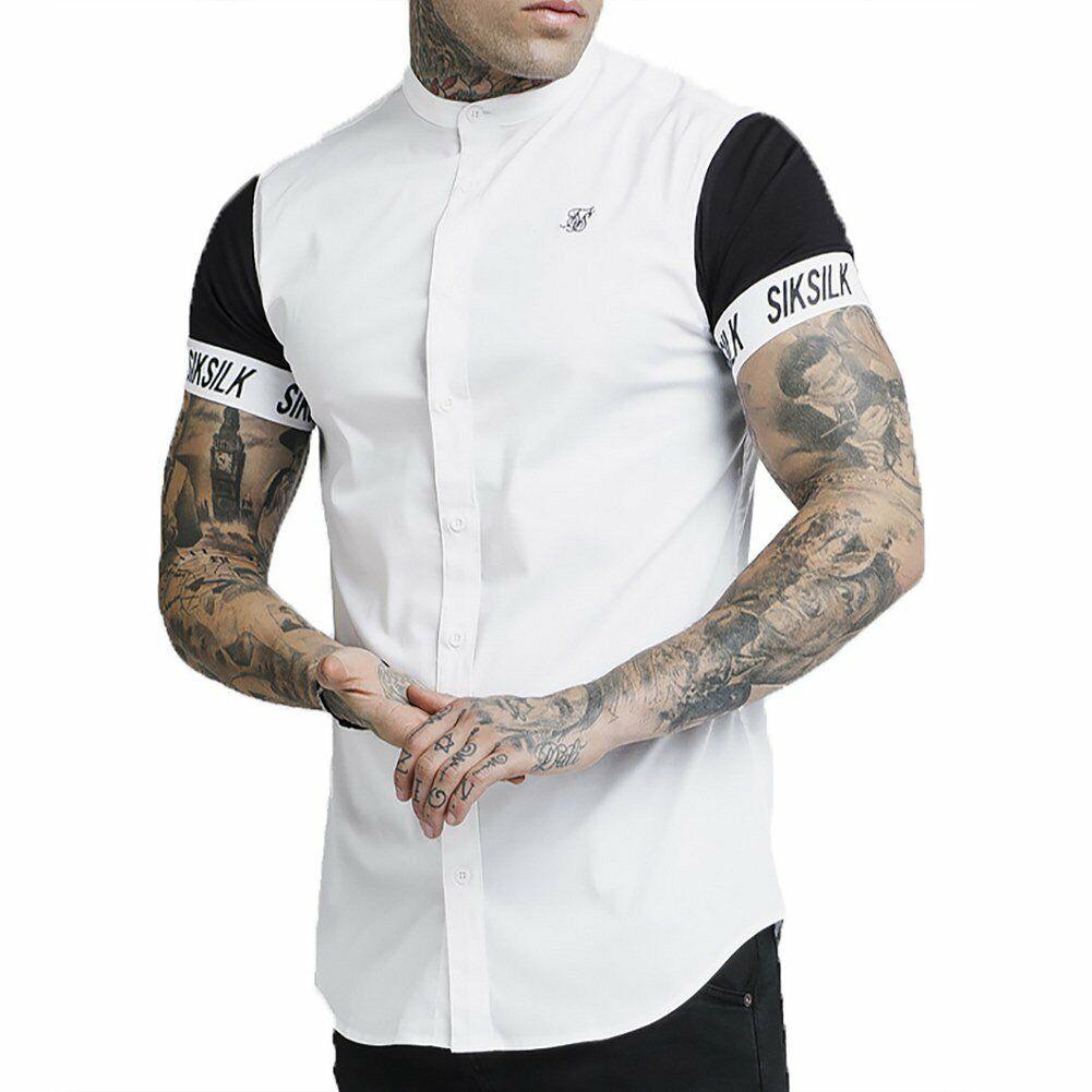 SikSilk S s Grandad Collar Tech  Shirt White Men