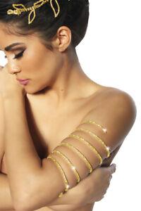 Armschmuck gold Spiralen Armreif Oberarmspange Modeschmuck Glitzer Strass Damen