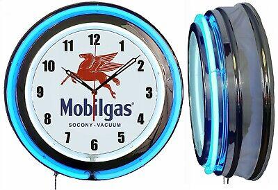 """Mobil Gas Friendly Service Gas Oil 19/"""" Double Neon Clock Blue Neon Man Cave Shop"""