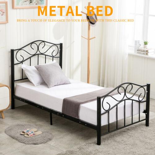 Twin Size Metal Bed Frame Upholstered Headboard Platform Kids Bedroom Furniture