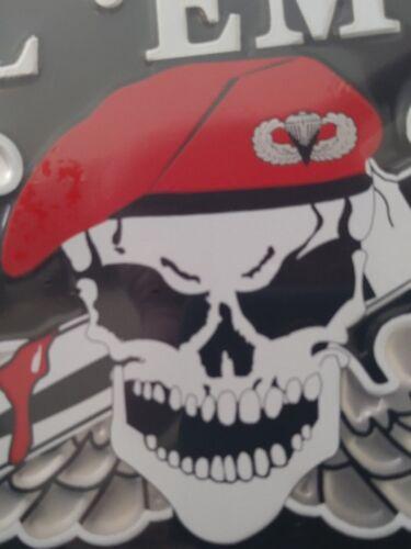 Kill /'Em All Let God Sort /'Em Out on Black Embossed License Plate