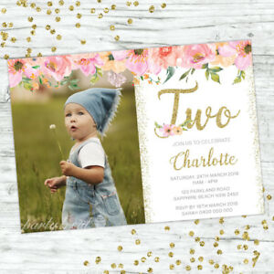 Image Is Loading SECOND BIRTHDAY INVITATIONS FLORAL 2ND GIRL PARTY