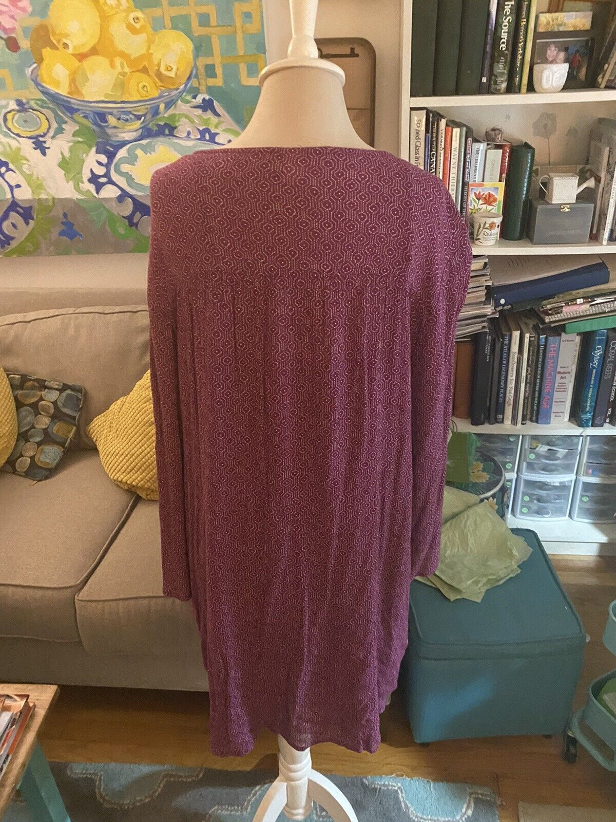 Old Navy Flowy Dress With Underdress L Magenta Wh… - image 3