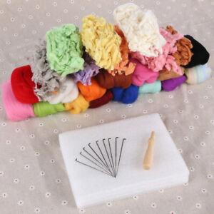 23 Colors Wool Fibre Roving DIY Needles Felting Advanced Kit Handcraft Mat Tools