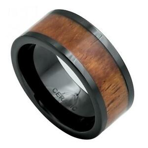 Black Ceramic Wedding Band Ring 9mm With Pipe Cut