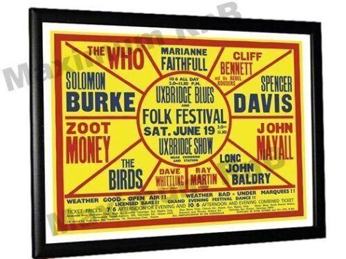 The Who John Mayall Birds Marianne Faithful Uxbridge Festival Poster 1965