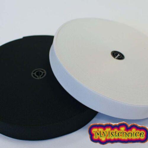 25 M élastique Roll-excellente qualité en Noir /& Blanc 25 mm 1 Largeur