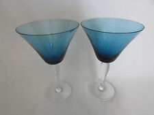 2 Large Blue Martini Glasses Absolutely Gorgeous