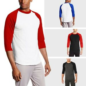 Mens-Baseball-Raglan-3-4-Sleeve-T-Shirts-Plain-Tee-Jersey-Team-Sports-Gym-Family