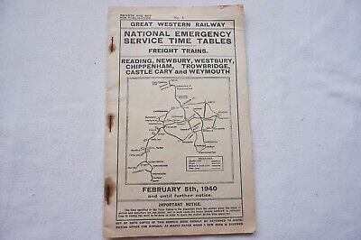 4 Bristol Freight 1940 GWR WW2 Emergency Working Service Timetable No