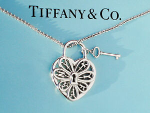 Tiffany co sterling silver filigree heart with key 18 inch image is loading tiffany amp co sterling silver filigree heart with aloadofball Choice Image