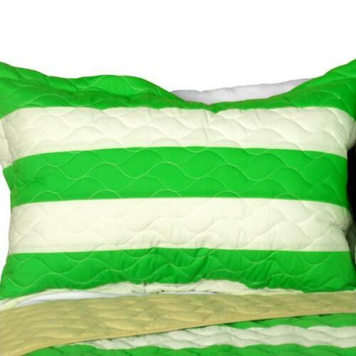 3 PC Spring Time green beige stripes vermicelli Queen Quilt Shams