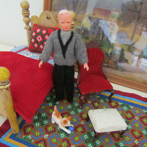 Caco-Puppenstuben-Flexible-Old-Man-Grandfather-Dollhouse-Doll-Grandpa-Germany