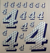 Racing Numbers Number 4 Decal Sticker Pack Silver Blue 1/8 1/10 RC models S02