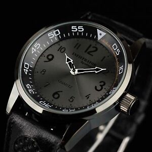 INFANTRY-Mens-Analog-Quartz-Wrist-Watches-Army-Sport-Military-Black-Leather