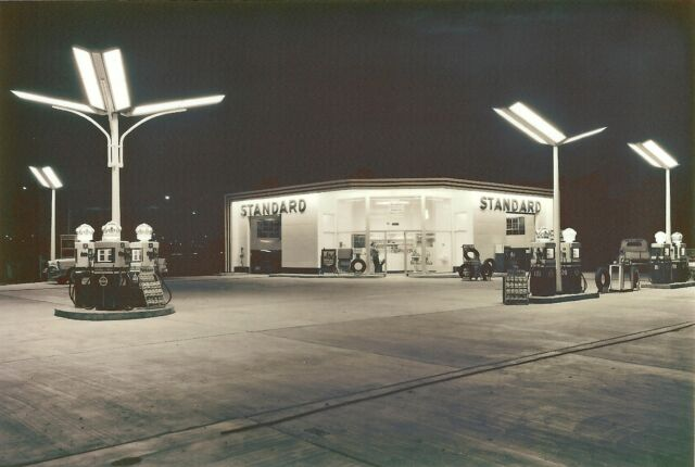 STANDARD RED WHITE CROWN GAS STATION  PHOTO PUMPS 5x7 night time  Stude truck