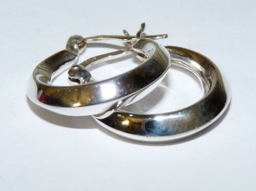 Thick Sterling Silver 3//4 Inch Hoop Earrings Hinged Closure Shiny Real Silver
