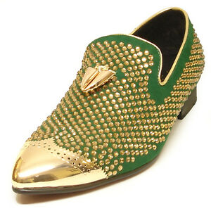 Shoes FI-6968 Green Suede With Gold Rhinestones Metal Tip and Metal Tassel - European Shoe Designs