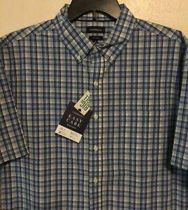 Croft-amp-Barrow-Mens-Woven-Short-Sleeve-Easy-Care-Shirt-Large-Tall-Blue-Plaid-NWT